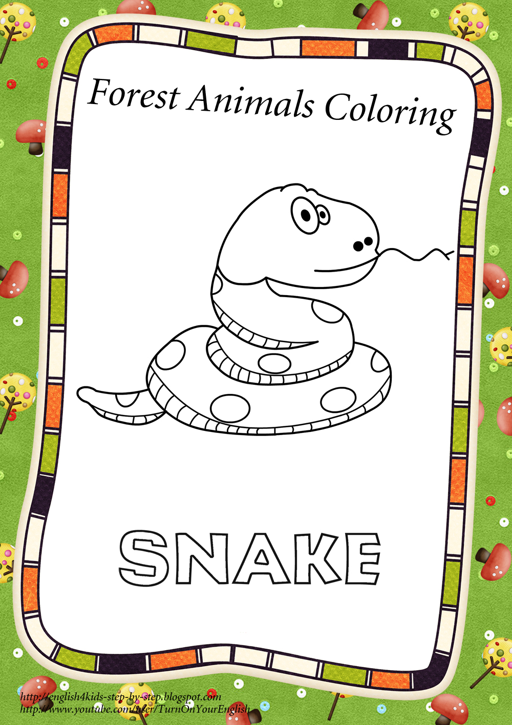 forest animals coloring pages and flashcards