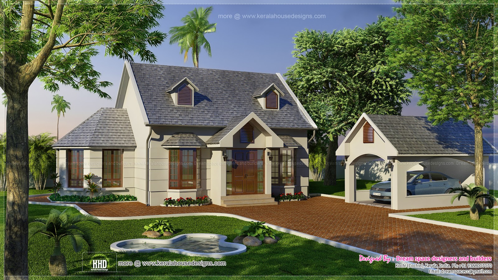 Vacation garden home design in 1200 kerala home for Free vacation home plans