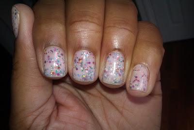 Glitter sammy, jelly sandwich, baby pink, pinata-yada-yada, nail art, mani