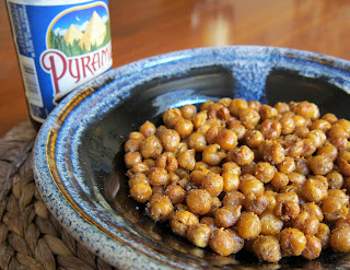 Oven roasted chickpea snack, seasoned with cumin, chili powder, olive oil