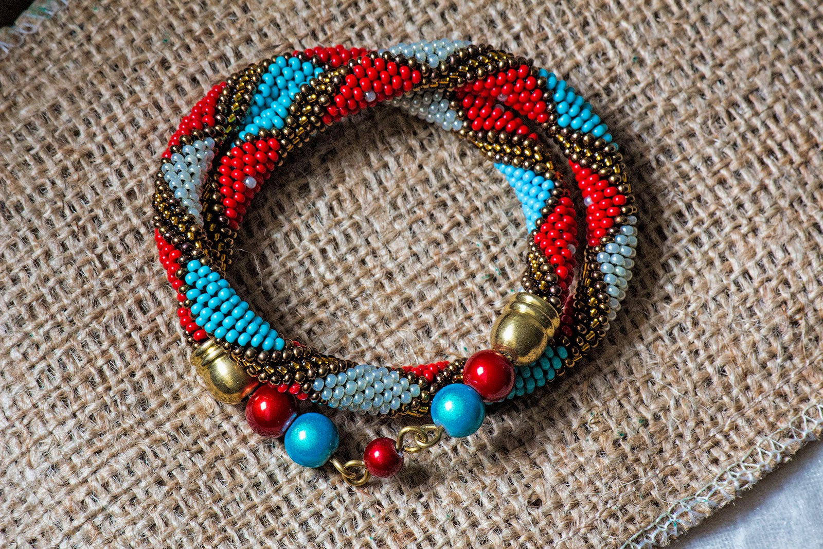 etsy shop beads crochet crocheted rope handmade handcrafted jewellery bracelet jewelry beadwork red blue beige gold japanese seed beads czech fashion chic