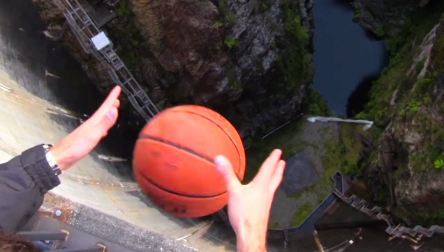throws basketball demonstrate crazy effect backspin