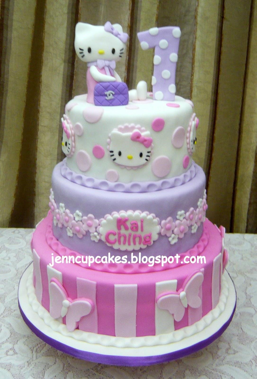 Jenn Cupcakes Muffins 3tier Hello Kitty Theme Cake