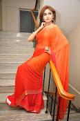 Sony Charista Glamorous in Saffron saree-thumbnail-8