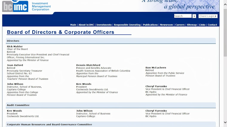 Board of Directors for BCIMC -  Are they terrorists?