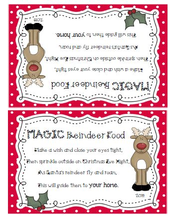 Printable Reindeer Food Poem Tags | New Calendar Template Site