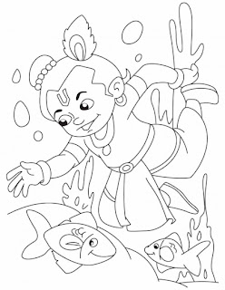 baby krishna coloring pages krishna playing with fish
