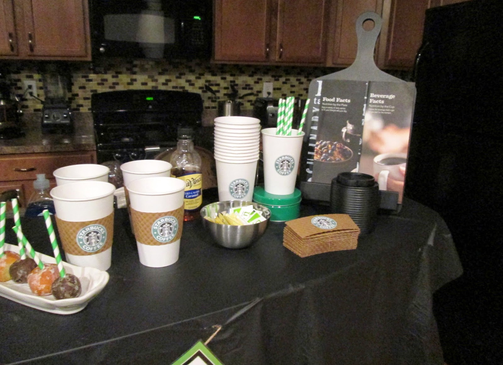 Lifestyle post with DIY ideas for Starbucks birthday party with dessert ideas