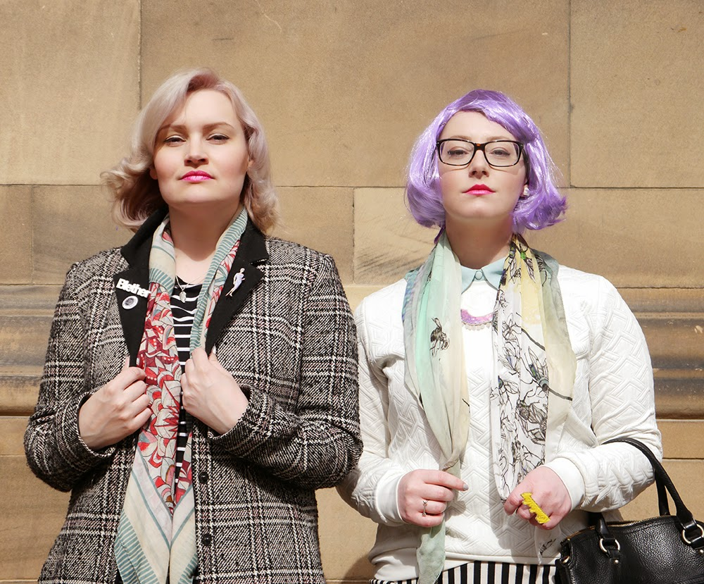 #scotstreetstyle, #EdFashion, Edinburgh, street style, monochrome, stripes, Breton, lilac hair, pom pom, Helen, Kimberley, Wardrobe Conversations, BFF, friends, girlgang
