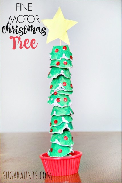 fine motor christmas tree craft made with egg cartons