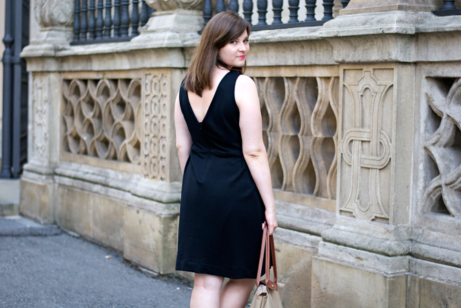 little black dress back neckline v cut