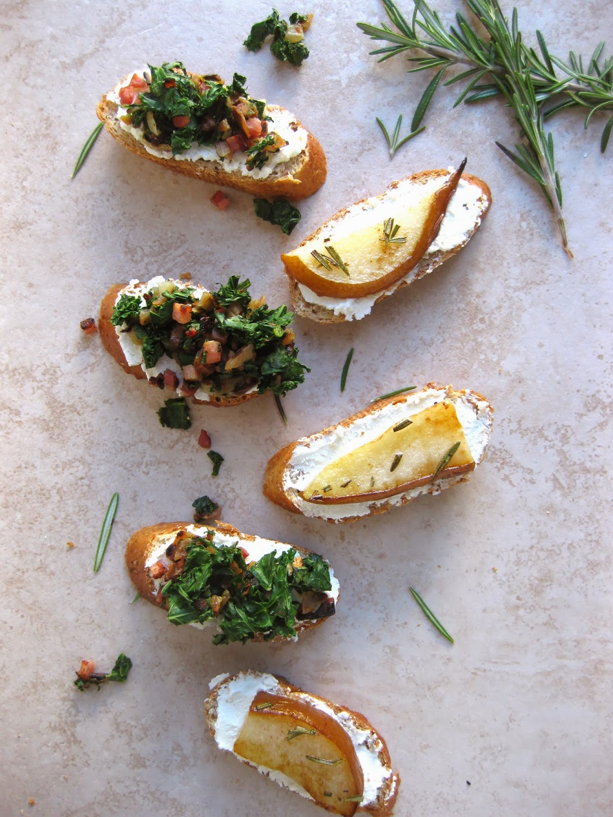 ... Goat Cheese Crostini with Pancetta & Kale and Rosemary Roasted Pears