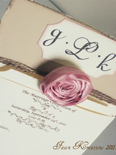 Wedding Programs with Fabric Rosette