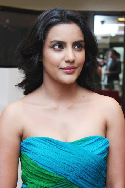 Priya Anand In Colorful Green Blue Shoulder Less Gown