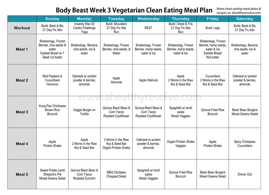 Body Beast Week 3 Vegetarian Clean Eating Meal Plan - www.ahealthyresolve.com