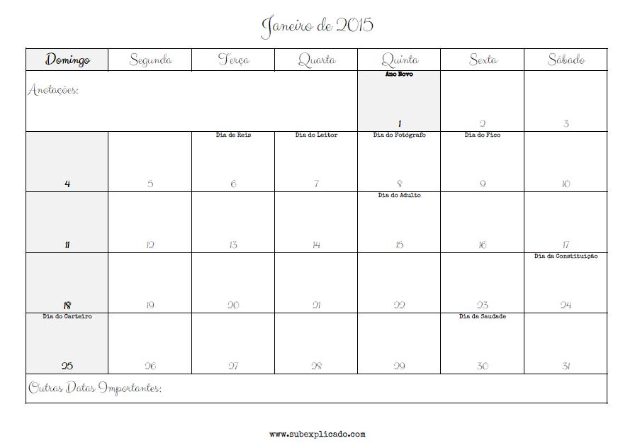 Calendário para Organização Pessoal – Janeiro 2015 ...
