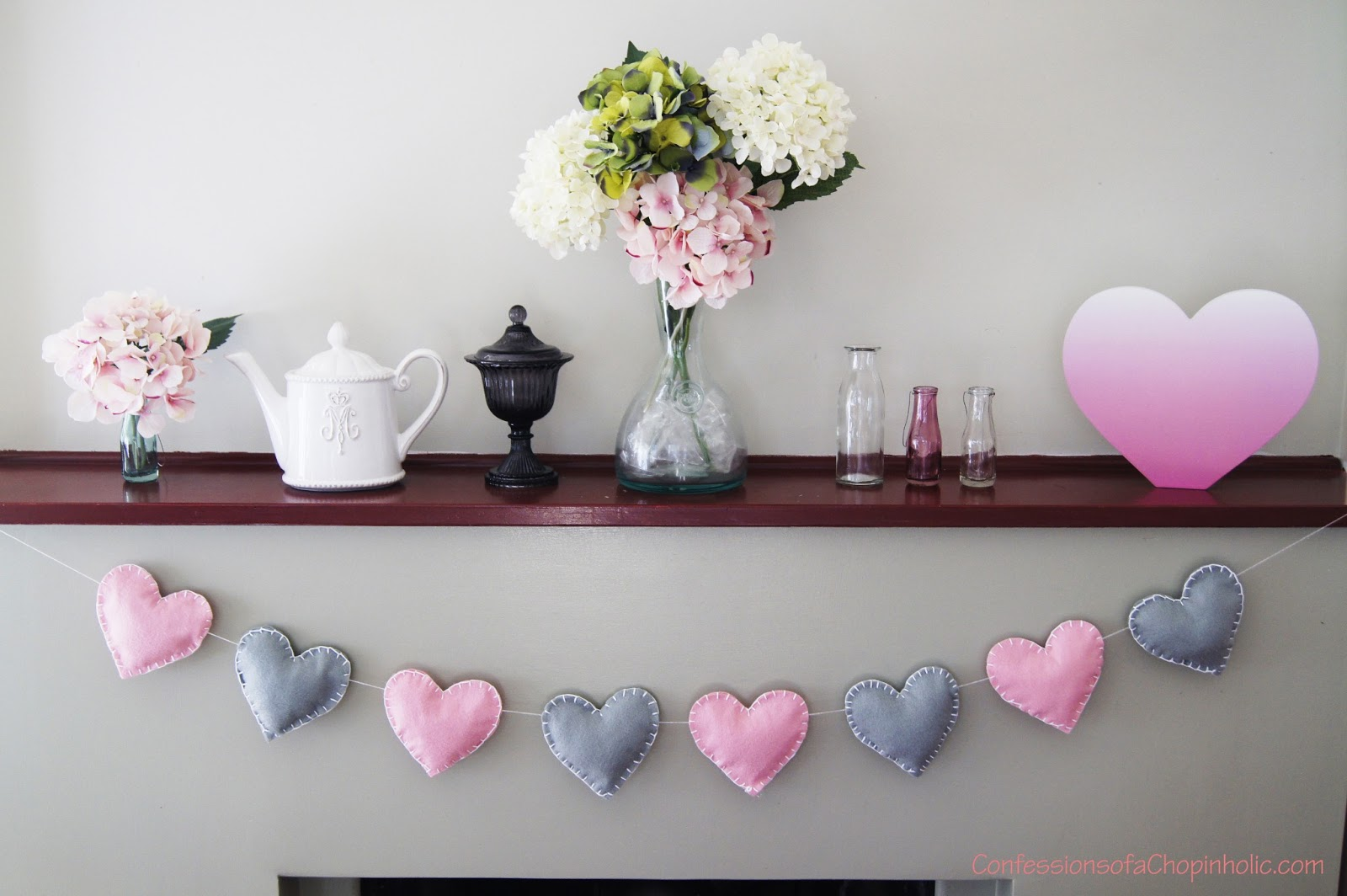 bunting decoration, decoration, stuff bunting, puffy bunting, felt heart bunting, wedding decorations, wedding bunting, party bunting