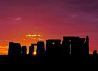 Stonehenge Pink Sky at Night