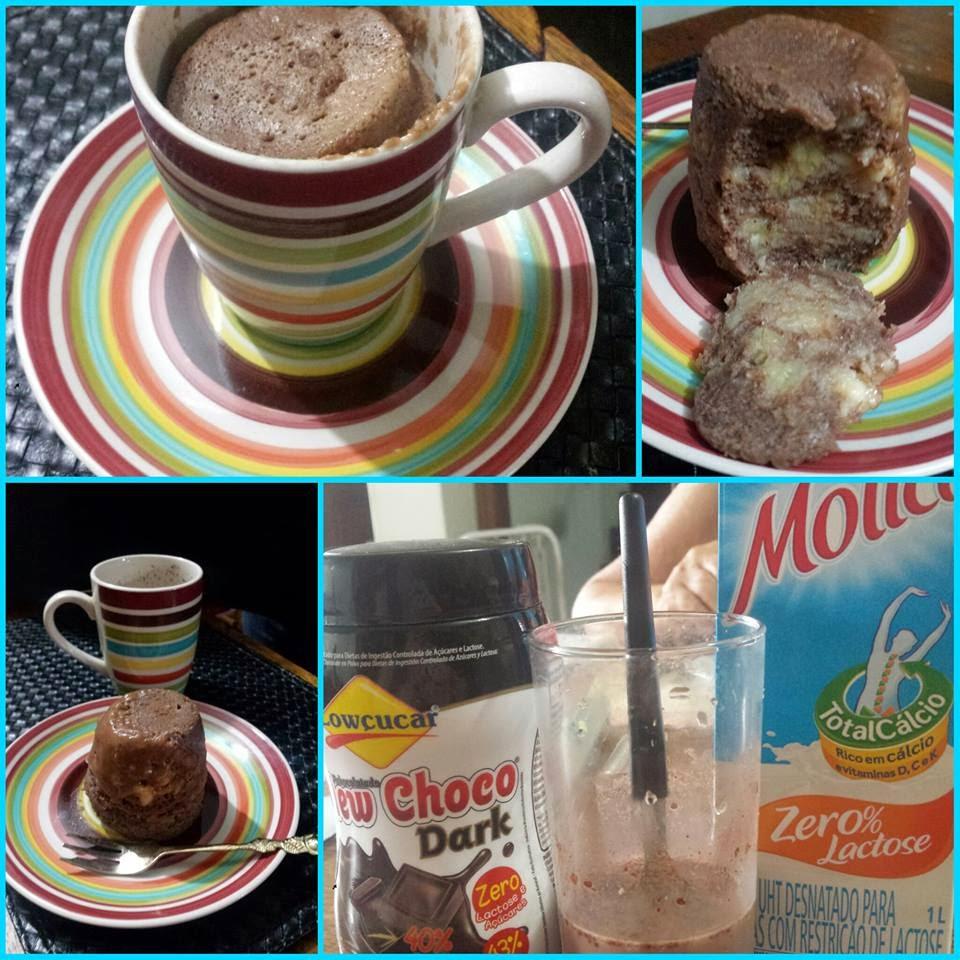 Bolo de chocolate de caneca sem glúten, sem lactose e sem açúcar