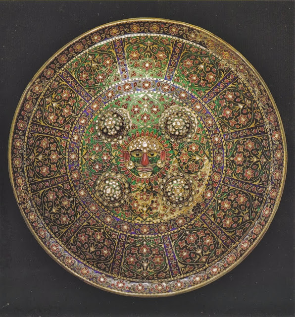 Maharaja's shield set with precious stones and decorated with enamel
