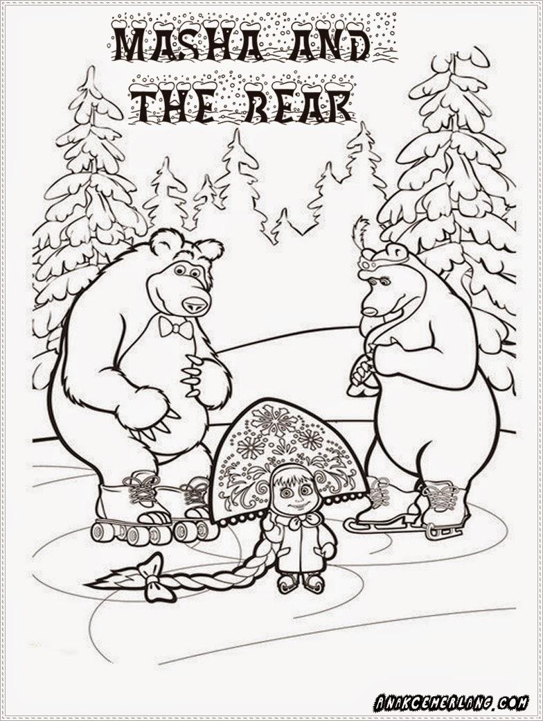 mewarnai gambar masha and the bear