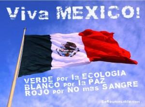Bandera de México con frase