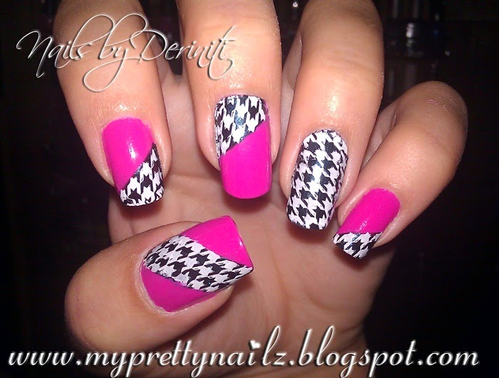 My Pretty Nailz Houndstooth Pattern And Hot Pink Nail Art Design