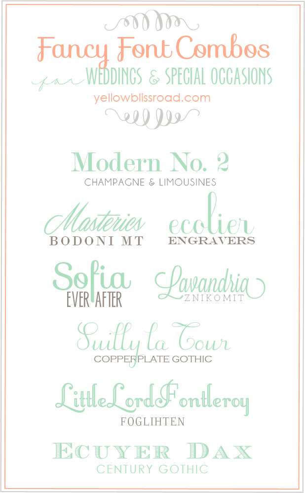 Fancy Font Combinations for Weddings and Special Occasions - Yellow ...