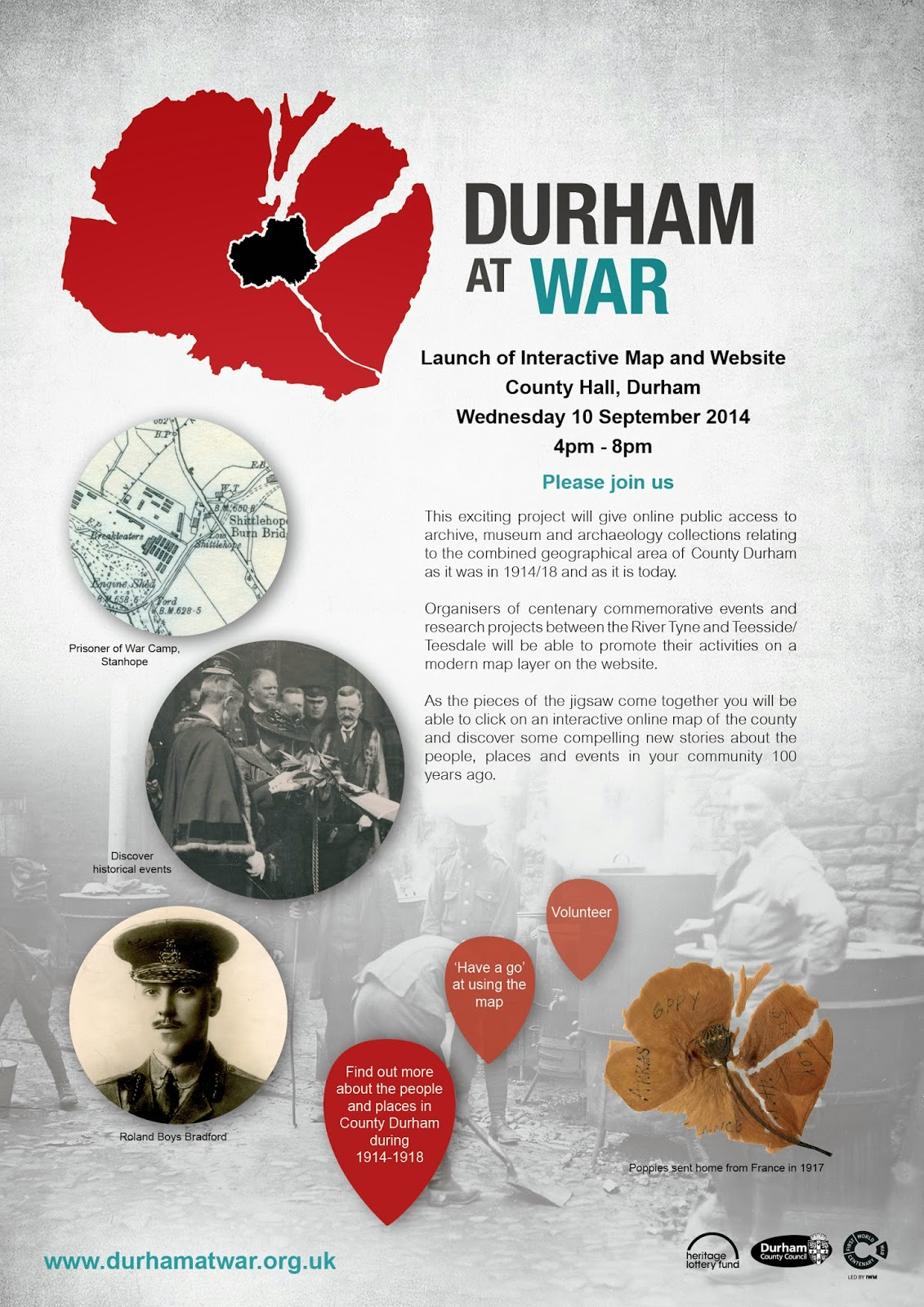 Flier for Durham at War website launch event 10 September 2014, 4-8pm, County Hall