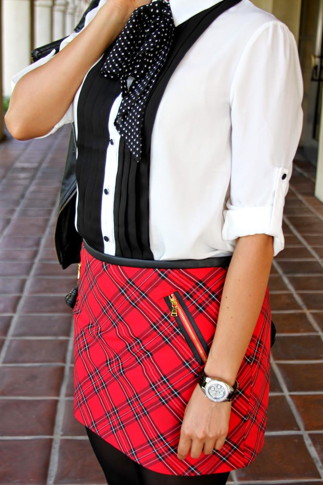 Polka dot scarf-tuxedo top-plaid