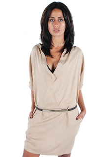 afrodit kısa bej elbise modeli