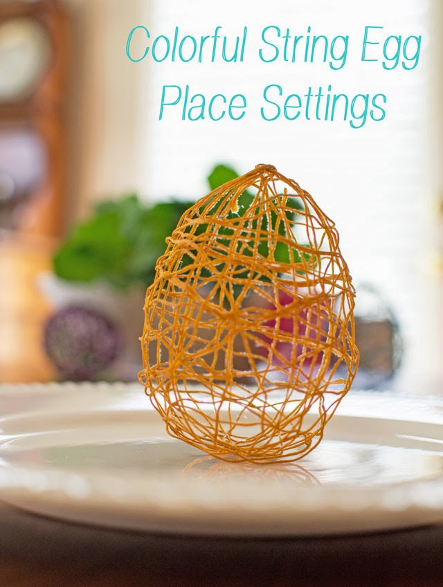 colorful string egg place settings