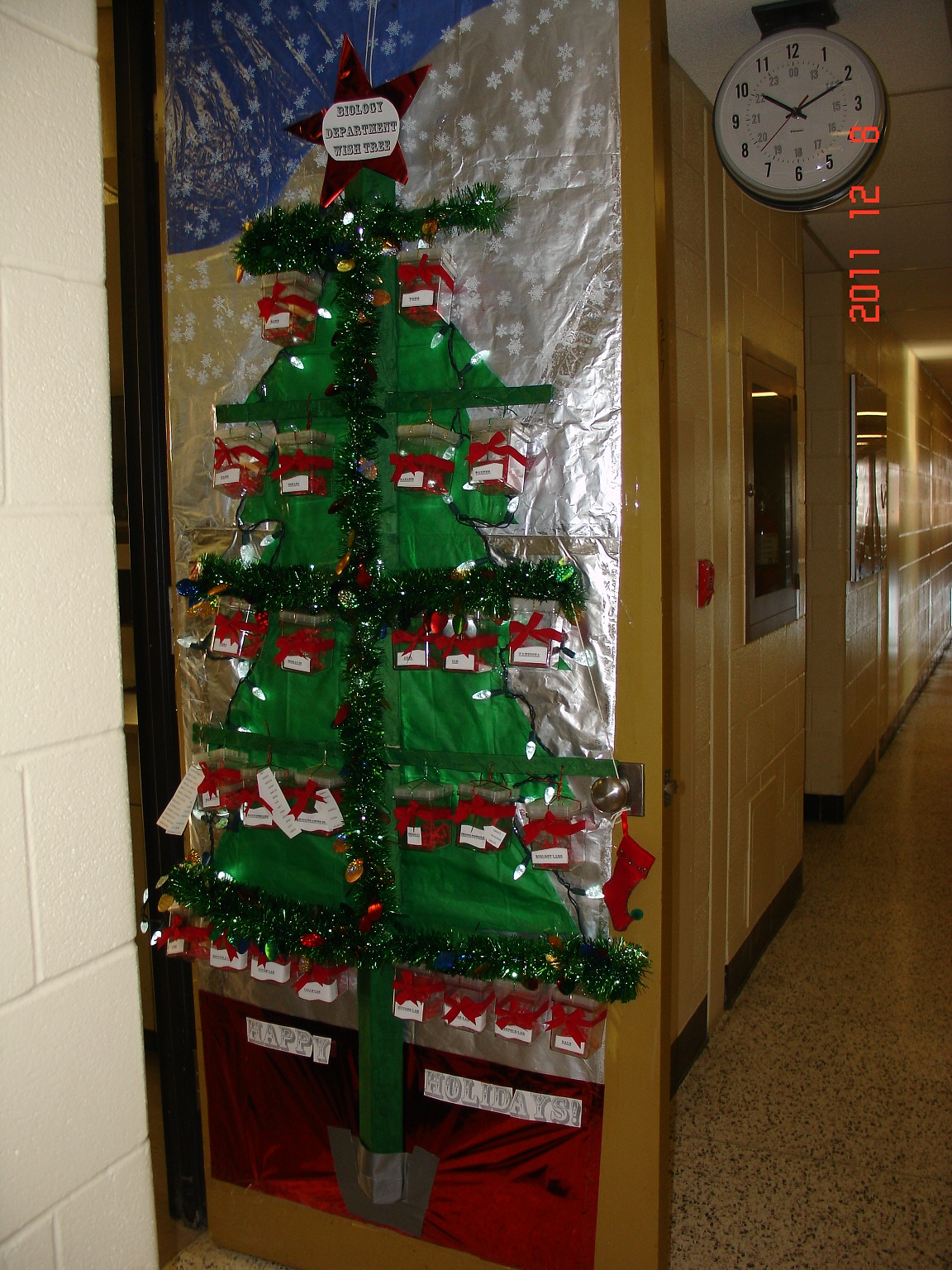 Uw biology graduate student association christmas door for Door xmas decoration ideas