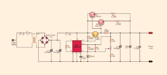 Circuit for building a Voltage Regulator AC 230 V, to 12V 10A By IC LM 7232