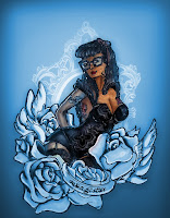 black pin up illustrayion, locks hairstyles, Magister, school Teacher, Glasses, Professeur, lunettes,  roses, tattoo, wings,magister, skulls,  nappy, vintage, blue version