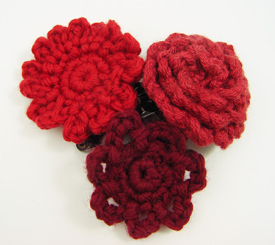 crochet, flowers, clips, hair, baby, girls, barrette, red, maroon
