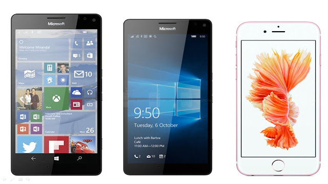 Microsoft Lumia 950 XL vs Lumia 950 vs iPhone 6s Plus