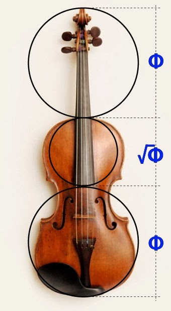The golden ratio in the design of violins