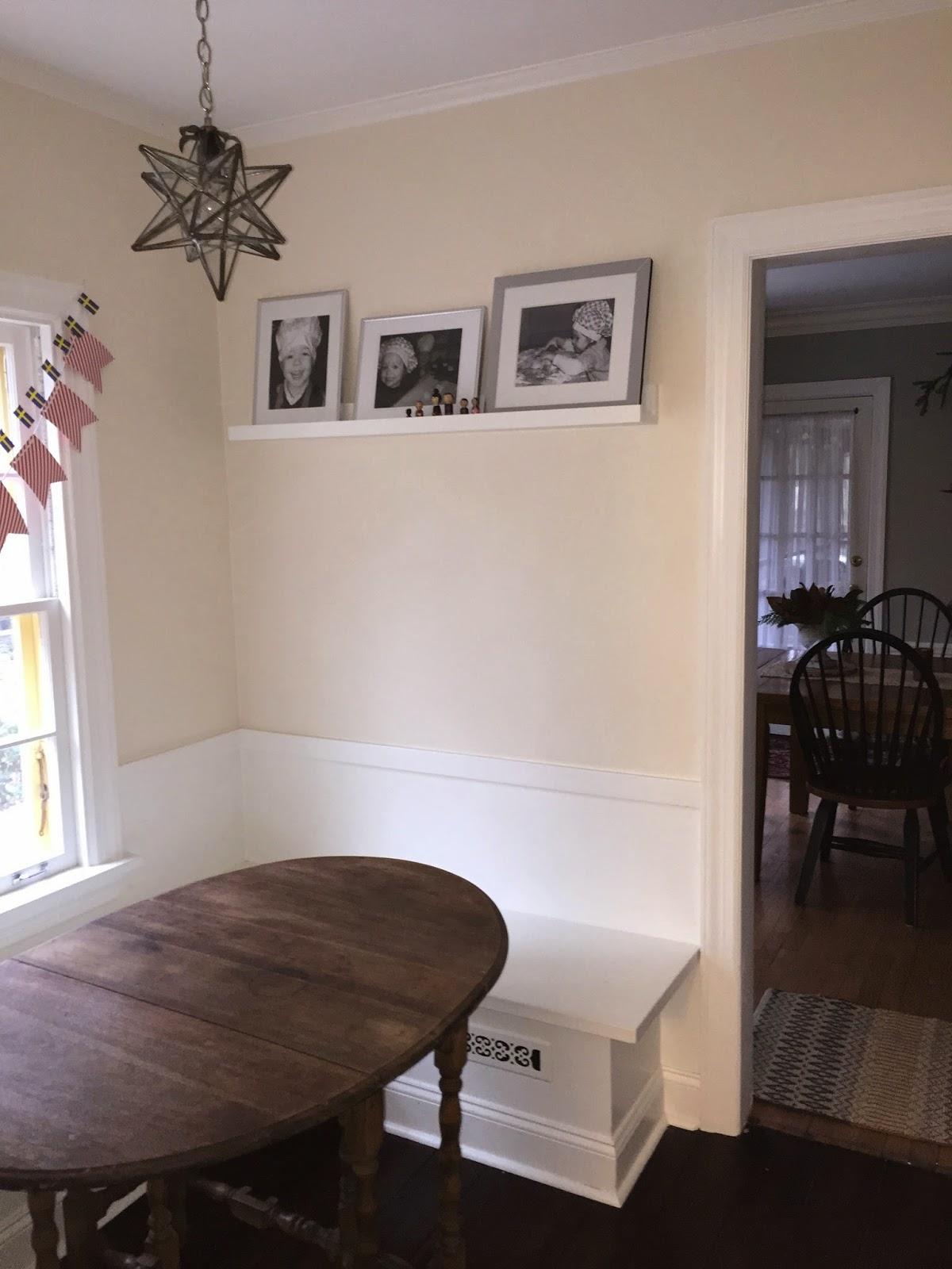 How to make a gallery ledge - how to build a photo shelf - breakfast nook shelf