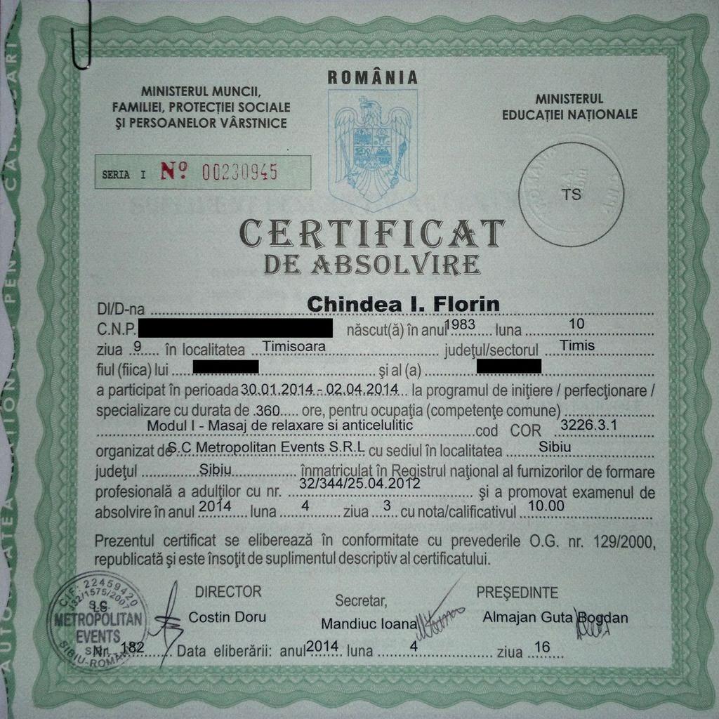 Florin Chindea - maseur. Am primit diploma pentru masaj de relaxare si anticelulitic