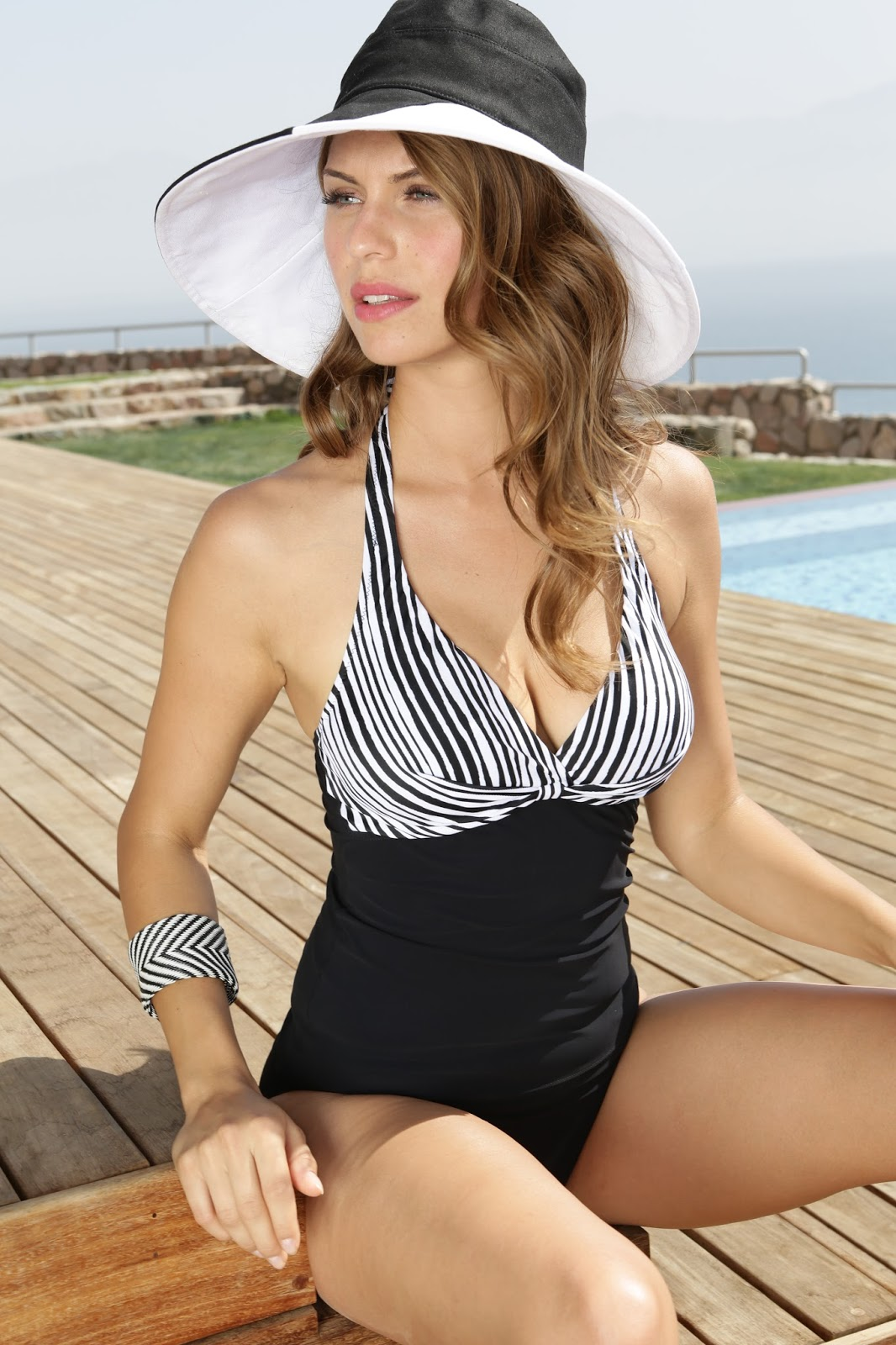 Woman in Sun Hat and Swimsuit