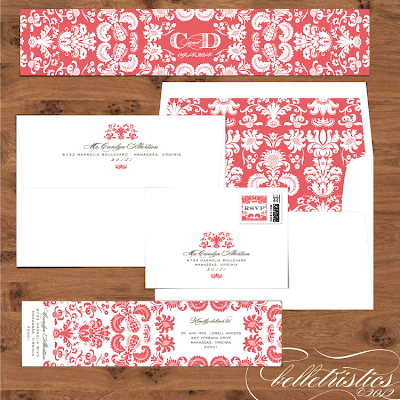 damask diy printable address label envelope liner design