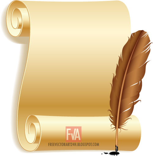 Old-paper-scroll-and-feather-vector-graphics