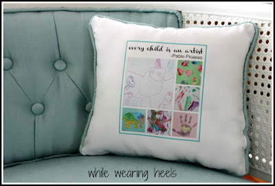 Turn Your Child's Artwork into a Keepsake Pillow by Amy of While Wearing Heels @BonbonBreak