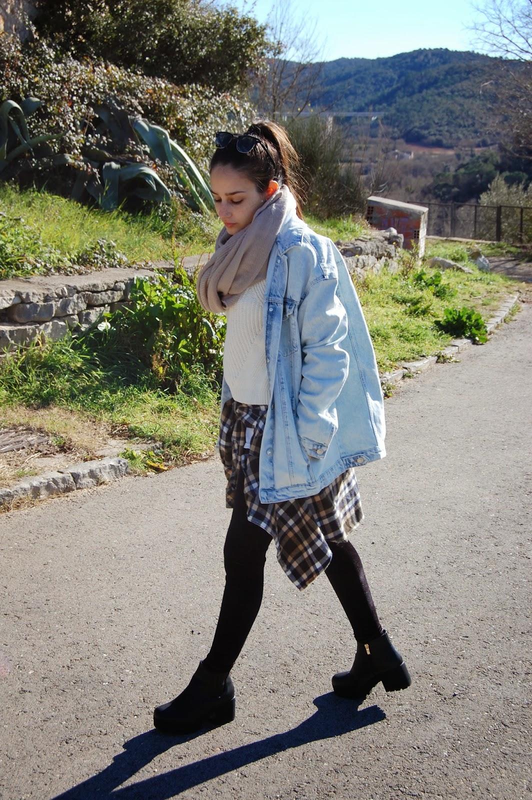 bufanda zara, gafas de sol ray-ban, jersey mango, camisa zara, pantalones calzedonia, zapatos sbt, bolso bimba&lola, reloj michael kors