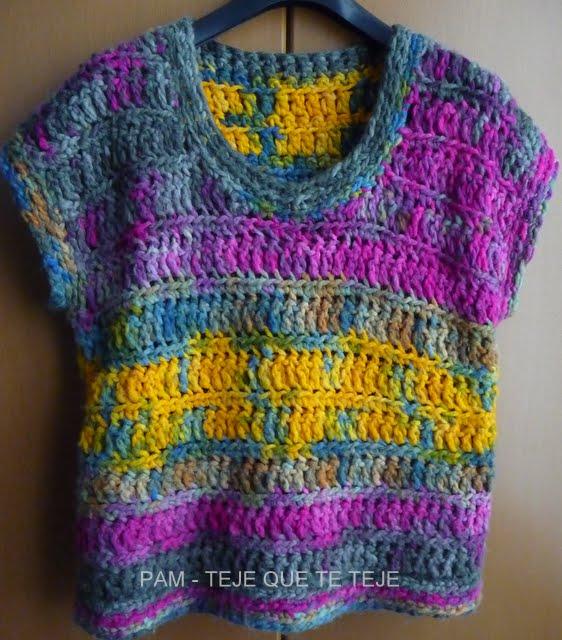 Teje que te teje chaleco y bufanda multicolor - Lana gruesa para tejer ...