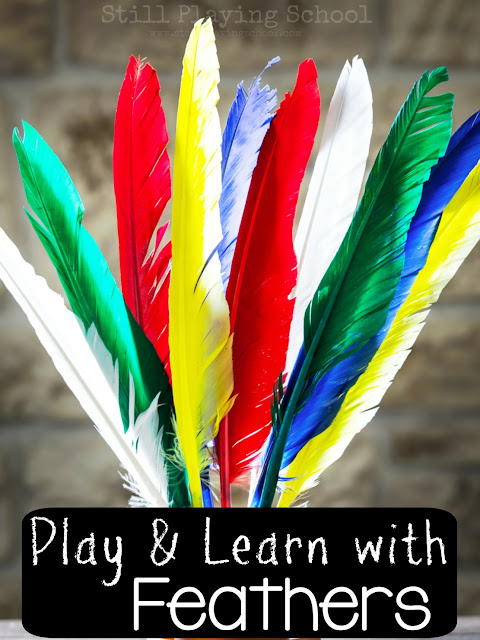 Lots of ideas for kids to learn and play with feathers! Activities, crafts, fine motor ideas, games, and more!