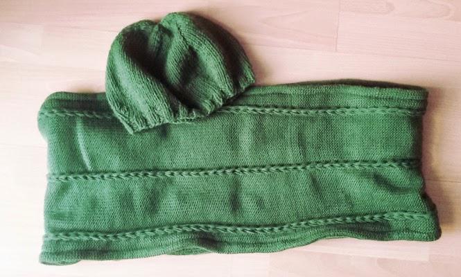 komplet zimowy na drutach