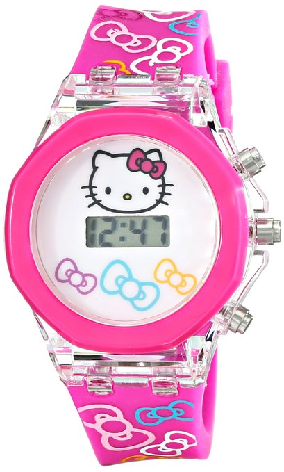 Hello Kitty Kids' HKKD5686 Digital Display Quartz Pink Watch in a Molded Head Gift Box