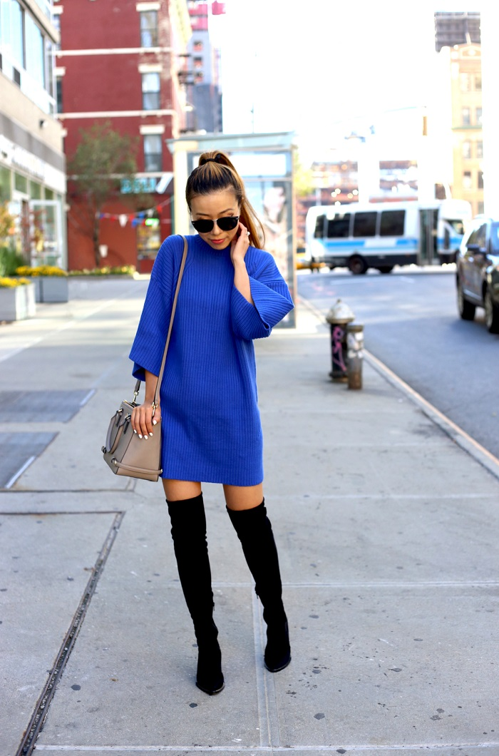 ASOS blue sweater dress, Karen Walker harvest sunglasses, baublebar ring, steve madden OTK boots, Tory burch mini robinson bag, street style, fashion blog, nycblogger, fall essentials, Chanel Brooch